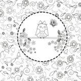 Kolorystyki książki strona dla tworzenia, sów i kwiatów dorosły kreskowej sztuki, relaksuje i medytacja royalty ilustracja