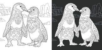 Kolorystyki książki strona z pingwin parą ilustracji