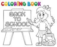 Kolorystyki książki ucznia dziewczyny szczęśliwy temat 5 Obraz Stock