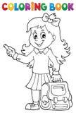 Kolorystyki książki ucznia dziewczyny szczęśliwy temat 3 Obrazy Royalty Free