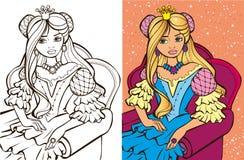 Koloryt książka blondynki Princess ilustracji
