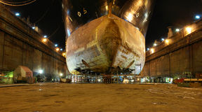 Kolos during reconstruction. Repair sheathing dennego vessel that contributed to the rocks Stock Images