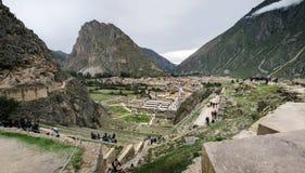 Kolosalny sanktuarium Ollantaytambo w Peru obrazy stock