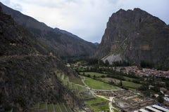 Kolosalny sanktuarium Ollantaytambo w Peru zdjęcia royalty free
