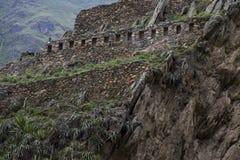 Kolosalny sanktuarium Ollantaytambo w Peru zdjęcie royalty free