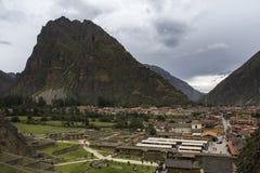 Kolosalny sanktuarium Ollantaytambo w Peru obraz stock