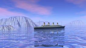 Kolossalt fartyg som sjunker - 3D framför stock illustrationer