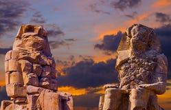 Kolossen van Memnon, Luxor, Thebes Afrika stock afbeeldingen