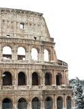 Kolosseum mit Schnee, Rom. stockfotos