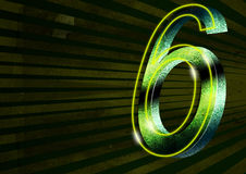 Kolossus light 6. Neon number six with rays background for remember a celebration Royalty Free Illustration