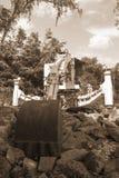 Kolskördearbetare för att bryta svart kol - sepiafärg arkivbilder