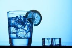Kolsyrat vatten med is och citronen royaltyfria foton