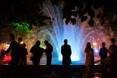 Koltsovsky square, multicolored fountain royalty free stock image
