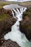 Kolufossar, een waterval in IJsland bij de Kolugljufur-canion stock foto's