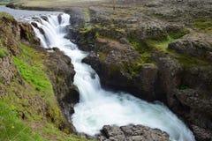Kolufossar, siklawa w Iceland przy Kolugljufur jarem długo ekspozycji obrazy royalty free