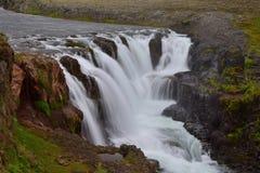 Kolufossar, a waterfall in Iceland at the Kolugljufur canyon. Long exposure stock image