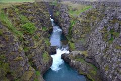 The Kolugljufur canyon in Iceland stock photos