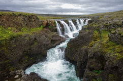 Kolugljufur Waterfall, Iceland. stock photo