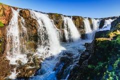 Kolugljufur waterfall at the north of iceland royalty free stock photos