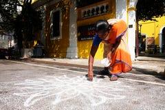 Kolum jest tradycyjnym i ciekawym grze bawić się w Kerala, India Zdjęcia Royalty Free