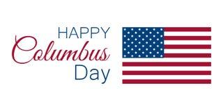 Kolumb dzień odkrywca Ameryka, usa flaga i kontynent, wakacyjny sztandar wektor royalty ilustracja