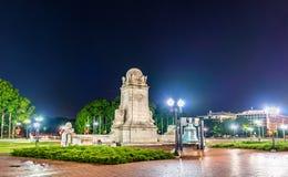 Kolumb fontanna przed zjednoczenie stacją w washington dc przy nocą obraz stock