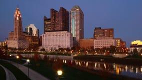 Kolumb, Ohio centrum miasta przy półmrokiem Obraz Royalty Free