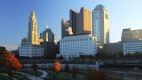 Kolumb, Ohio linia horyzontu po wschodu słońca Zdjęcia Royalty Free