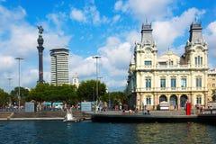 Kolumb statua przy Portowym Vell w Barcelona Obraz Royalty Free