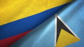 Kolumbia Lucia i święty dwa flagi tekstylny płótno, tkaniny tekstura ilustracji