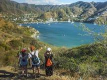Kolumbia Taganga zatoki widok z lotu ptaka Fotografia Stock