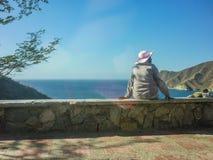 Kolumbia Taganga zatoki widok z lotu ptaka Obrazy Stock