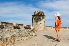 Kolumbia, widok na starym Cartagena obraz royalty free