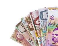 Kolumbianischer Peso berechnet Hintergrund Lizenzfreie Stockfotos