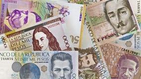 Kolumbianischer Peso berechnet Hintergrund Lizenzfreie Stockfotografie