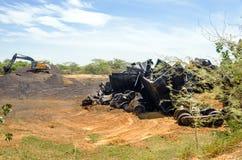 Kolumbien-Bombenanschlag auf einen Zug Stockfotografie