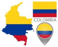 Kolumbien-Flagge, Karte und Kartenzeiger lizenzfreie abbildung