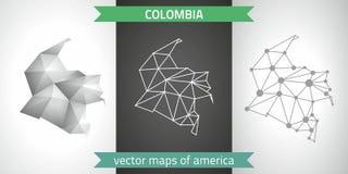 Kolumbien-Satz Grau und polygonale Karten des Silbermosaiks 3d Grafische Vektordreieckgeometrieentwurfs-Schattenperspektive zeich Stockfoto