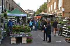 Kolumbien-Straßen-Blumen-Markt Ost-London stockfoto
