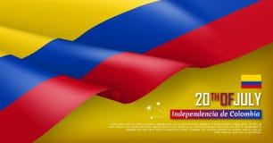 Kolumbijskiego dnia niepodległości sieci horyzontalny sztandar ilustracji