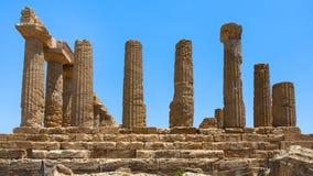 Kolumna świątynia Juno w dolinie świątynie Obraz Stock