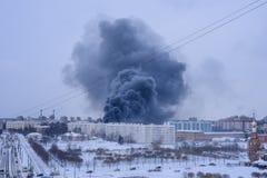 Kolumna dym od ogienia fotografia royalty free
