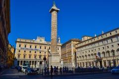 Kolumna Marcus Aurelius Colonna Di Marco Aurelio w piazza C zdjęcia stock