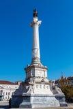 Kolumna Pedro IV Rossio kwadrat Obraz Royalty Free