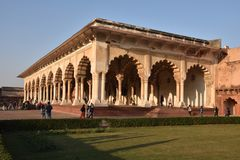 Kolumny w pałac - Agra Czerwony fort India Obrazy Royalty Free