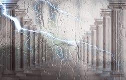 Kolumny za szkłem Krople na szkle na zewnątrz okno w popołudniu świadczenia 3 d ilustracja wektor