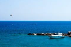 Kolymbia beach with boat Stock Photos
