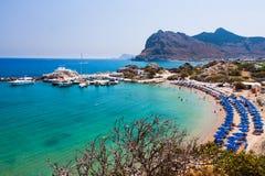 Kolymbia beach with boats royalty free stock photos