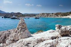 Kolymbia beach with the rocky coast in Greece. Stock Photo