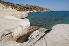Kolymbia beach with rocky coast, Rhodes Royalty Free Stock Image